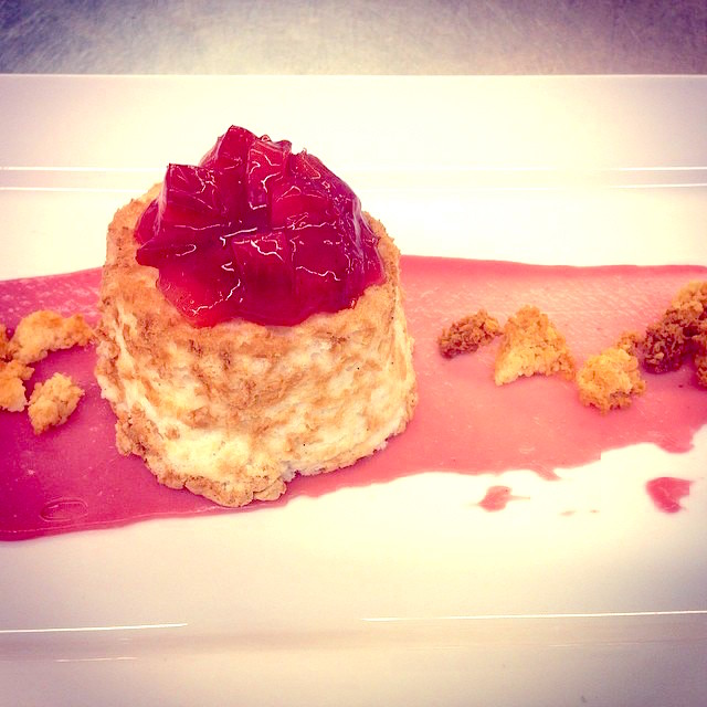 Coconut Angel Food Cake w/ Raspberry Cream Topped w/ a Coconut Macaron Crumble & Fresh Pluot Compote